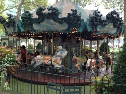 An antique-esque, Art Nouveau themed carrousel