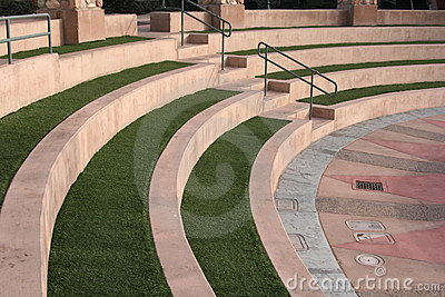 Terraced Amphitheater Seating with Native  Grasses & Concrete Buffering