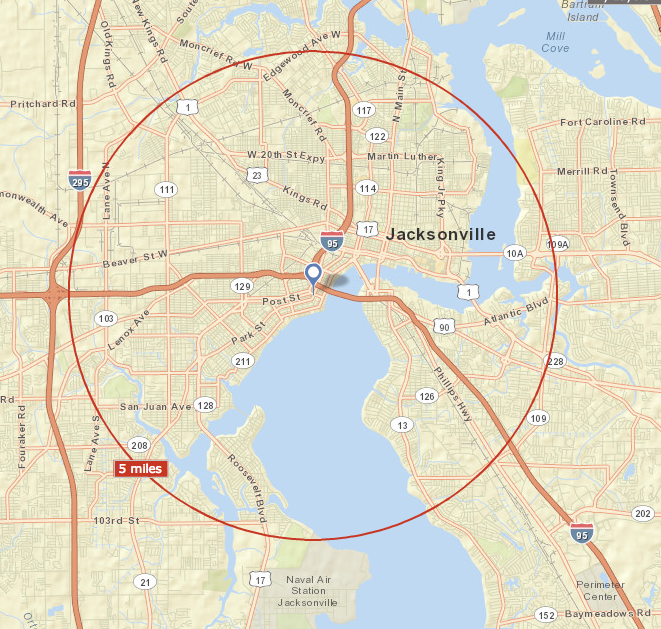 Bikeshare's 5 mile radius includes over 220,000 people who live or work in this region, as well as Jacksonville's original street-car lines and the vast majority of our cultural institutions.