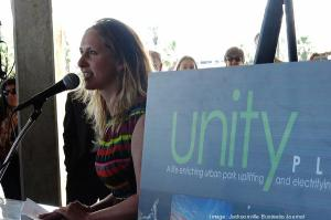 By James Crichlow for the JBJ - Unity Plaza Director Jen Jones addresses assembled guests at the center's groundbreaking ceremonies.