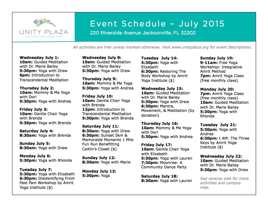 Unity Plaza - July Schedule COLOR - 1