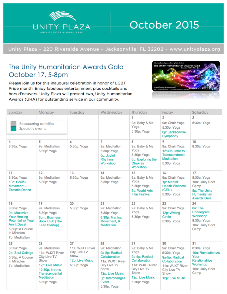 Unity Plaza October Calendar